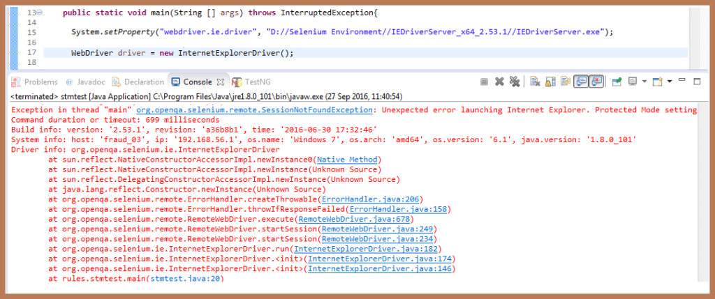 Failed To Launch IE Driver
