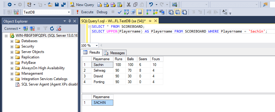 SQL String Functions Upper