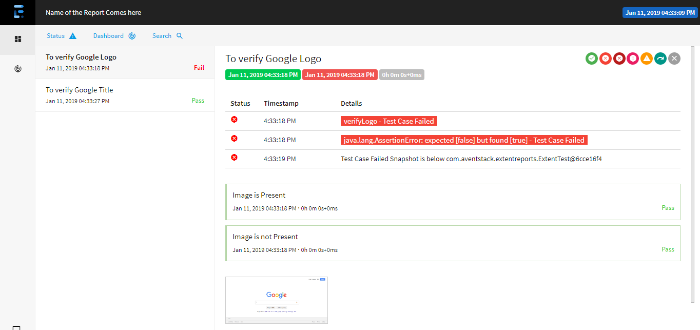 Extent Reports Version 4 Failed Test Case