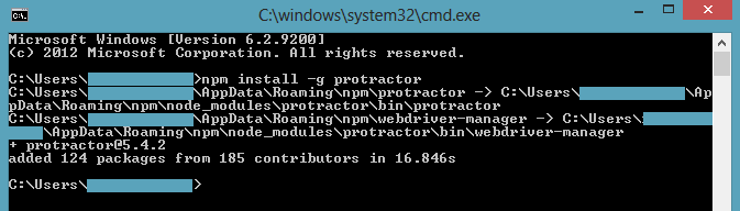 npm install g protractor