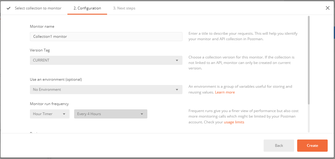 Postman Select Collections To Monitor Configuration