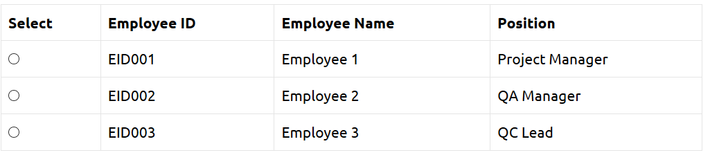 Employee Table Sample Page To Test