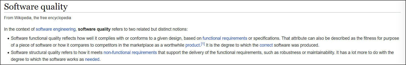 Define Software Quality Wikipedia