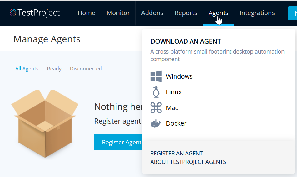 TestProject Manage Agents